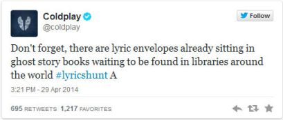 Coldplay-Tweet-on-Lyric-Hunt